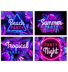 neon beach party poster tropical paradise summer vector image