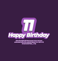 Number 11 eleven year celebration birthday font vector