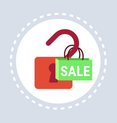 open padlock sale online shopping protection vector image