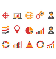 Orange red color business infographic icons set vector