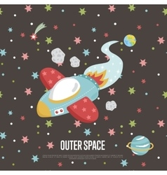Outer Space Cartoon Web Banner vector