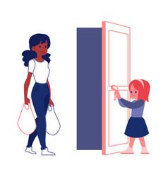 Polite courteous child open a door for woman flat vector