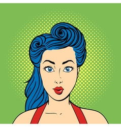 pop art surprised woman face Retro style vector image