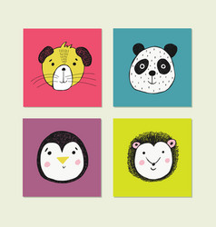 poster with hand drawn funny animal face vector image