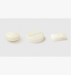 realistic medical pills collection of oval round vector image