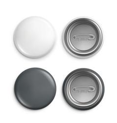 Round badges white plastic badge mockup isolated vector