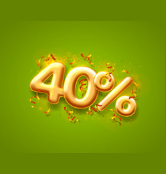 sale 40 off ballon number on green background vector image