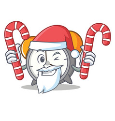 Santa with candy alarm clock mascot cartoon vector