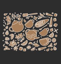 set aroma herbal tea vector image