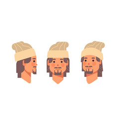 set guy head avatar front side view male cartoon vector image