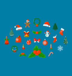 Set of xmas isolated icon cartoon style for vector