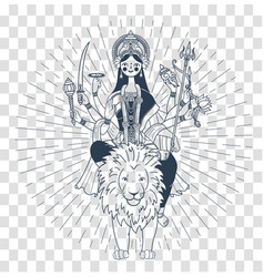 Silhouette of goddess durga rays vector