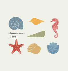 Silhouettes of sea shells seahorse and starfish vector