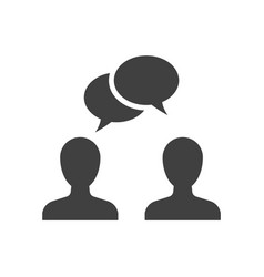 speaking people black icon on white background vector image
