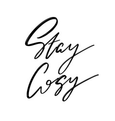 stay cosy hand drawn lettering isolated vector image
