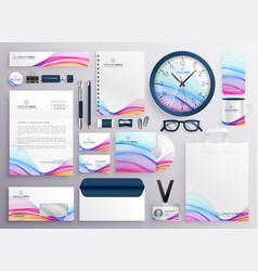 stylish big set business stationery items vector image