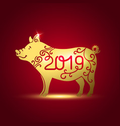 Symbol of the year golden pig vector