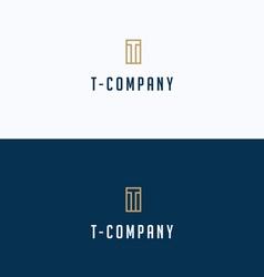 T-brand letter frame building logo vector