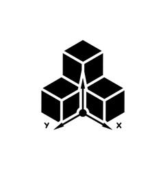 Three-dimensional design symbol vector image