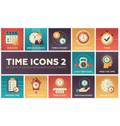 Time icons - modern set of flat design vector