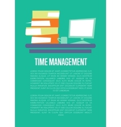 Time management banner with office table vector
