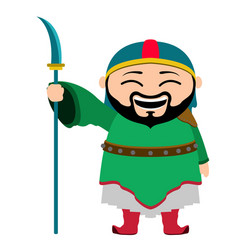 Traditional asian warrior cartoon character vector