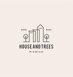Trees house home logo hipster vintage retro vector