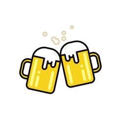 Two mugs beer flat line vector