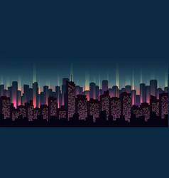 urban neon landscape nighttime cityscape vector image
