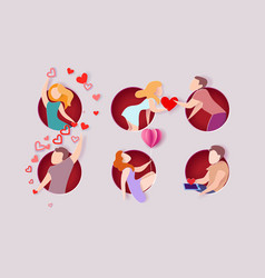 valentines day card with men and women in love vector image