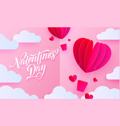 valentines day paper art greeting card vector image