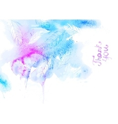 Watercolor abstrakt thank you lettering vector image