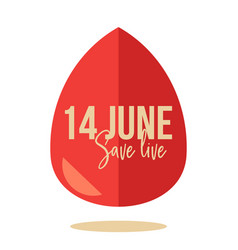world blood donor day element with big red drop vector image