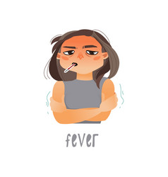 young sick girl flat suffering from fever vector image