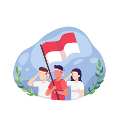 Youth celebrate indonesia independence day vector