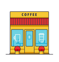 coffee business cafe building flat line vector image vector image
