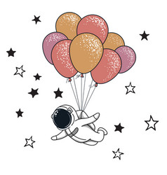 funny spaceman fly with many balloons vector image vector image
