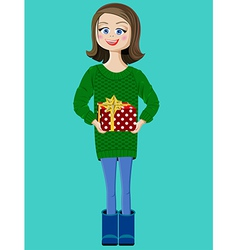 girl with a red present box vector image vector image