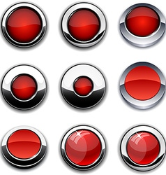 Red round buttons with chrome borders vector image