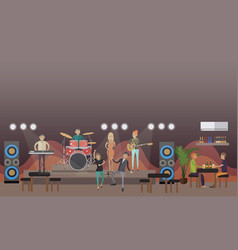 rock band concert in flat vector image vector image