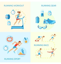 Running icons composition vector image vector image