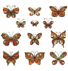 set of vintage butterflies vector image