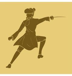 Seventieth century swordsman in carved style vector