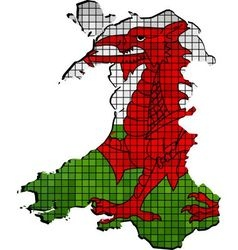 Wales map with flag inside vector image vector image