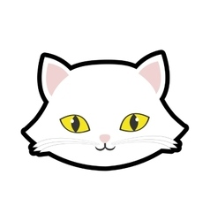 white cat kitty yellow eyes animal cute vector image vector image