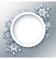 Winter grey background frame with 3d snowflakes vector image vector image