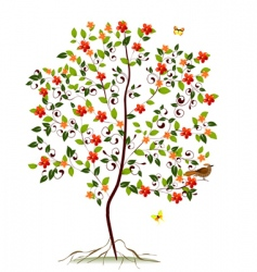 young flowering tree vector image vector image