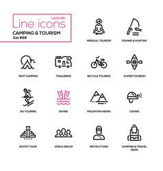 camping and tourism - line design icons set vector image