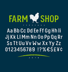 farm shop font 001 vector image