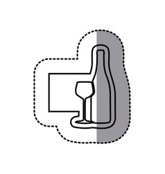 figure emblem wine bottle with glass icon vector image vector image